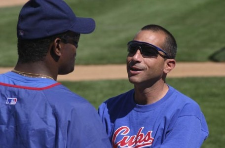 Chicago Cubs - Getting Sosa ready for the game.